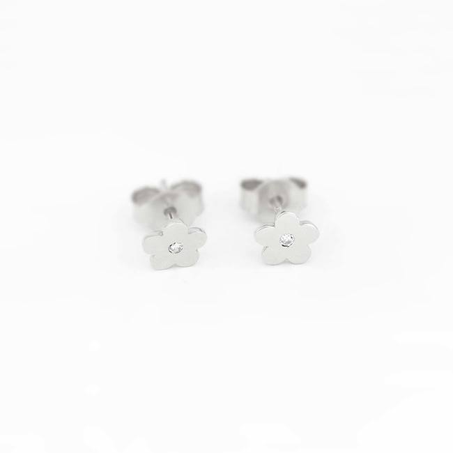 Flower stud earrings with stone white gold