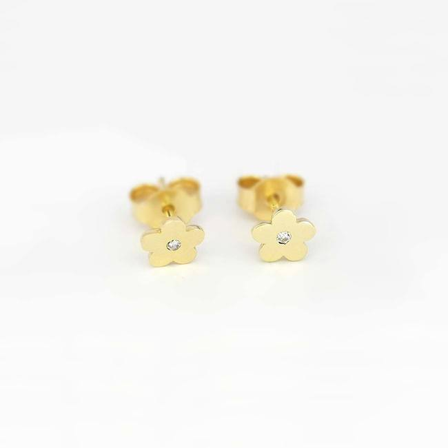 Flower stud earrings yellow gold with stone