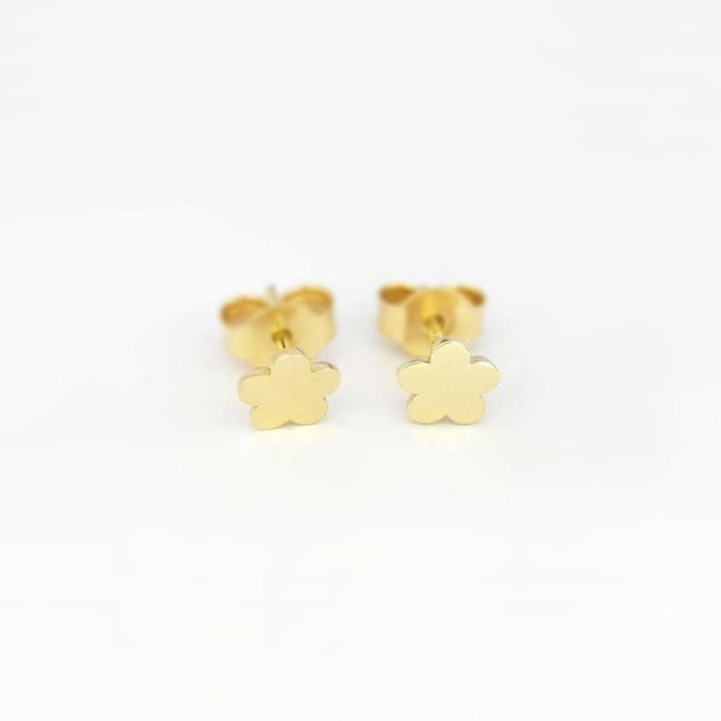Flower stud earrings yellow gold