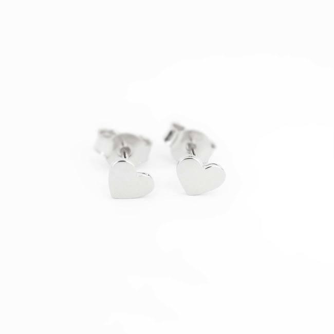 orecchini a bottone cuore in oro bianco