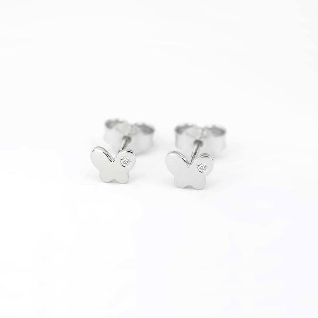 Butterfly stud earrings white gold