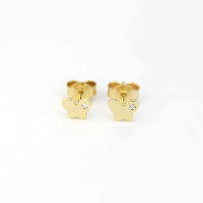 Butterfly stud earrings yellow gold