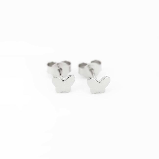 orecchini a bottone farfalla in oro bianco
