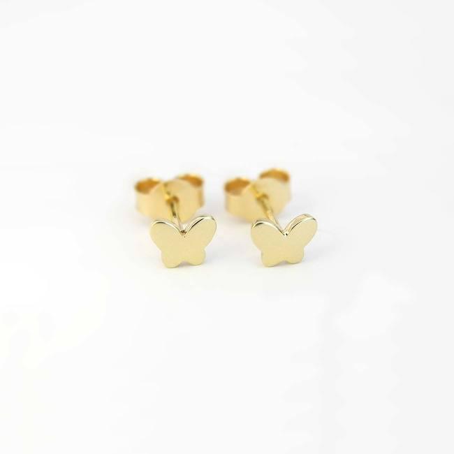 orecchini a bottone farfalla in oro giallo