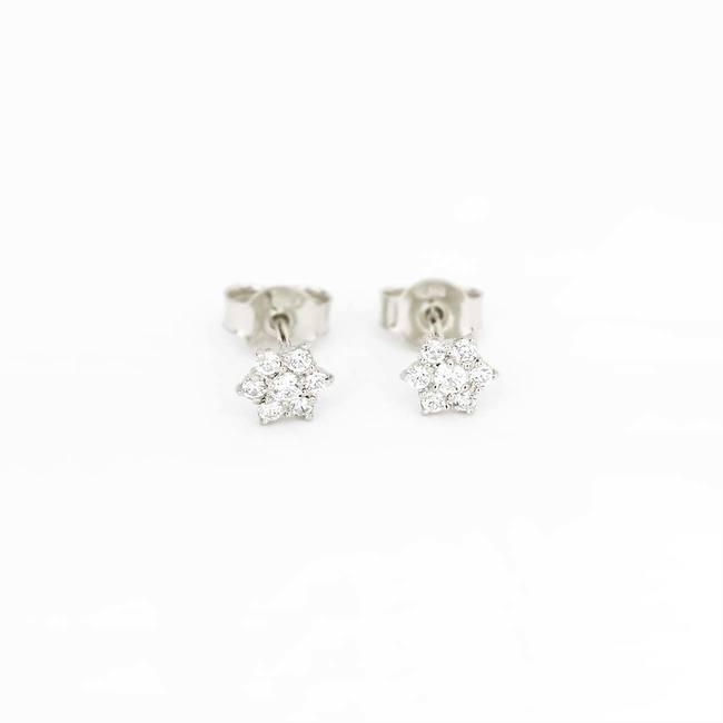orecchini a bottone stella con pietre in oro bianco