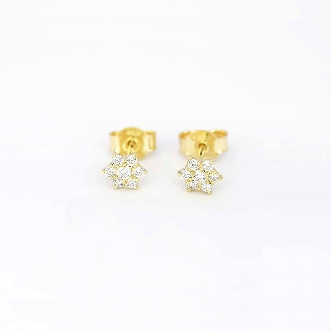 star stud earrings with stones yellow gold