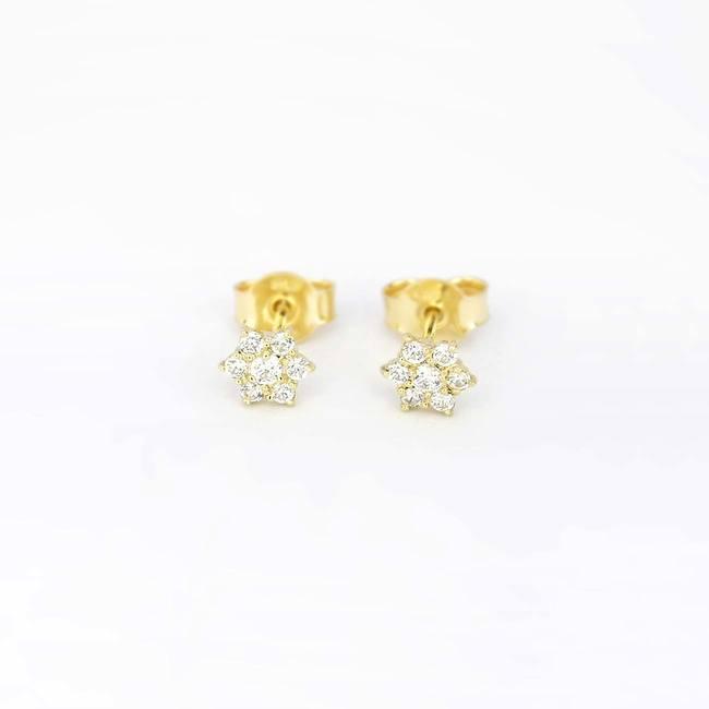 orecchini a bottone stella con pietre in oro giallo