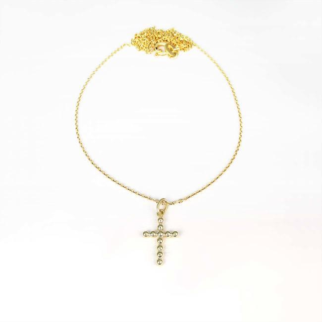 verižica in obesek monjši križ moderen unikaten rumeno zlato