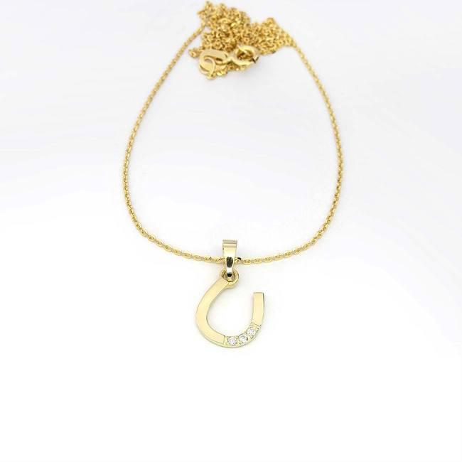 obesek podkvica s tremi diamanti zlato verižica