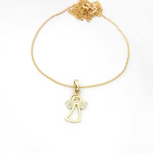 obesek angelček z diamanti rumeno zlato verižica