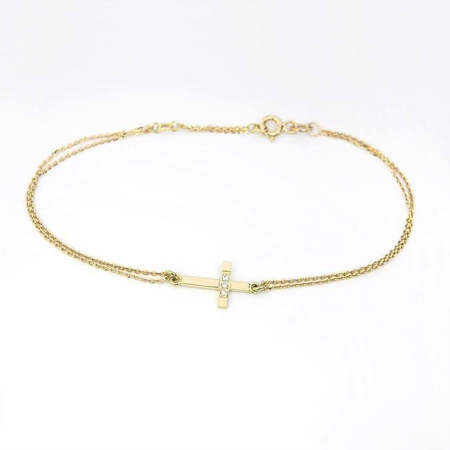 yellow gold cross bracelet with diamonds