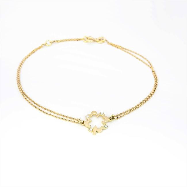 zlata zapestnica štiriperesna deteljica z diamanti