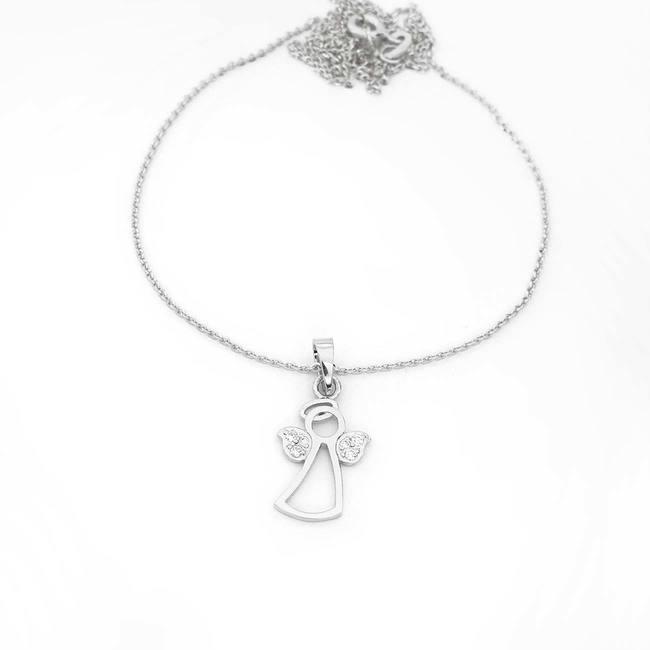 obesek angelček z diamanti belo zlato verižica