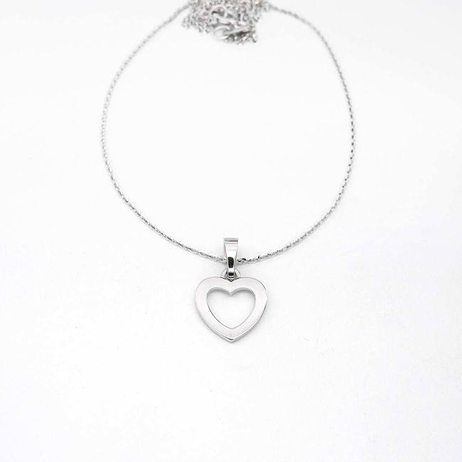 pendant heart no stones white gold with chain