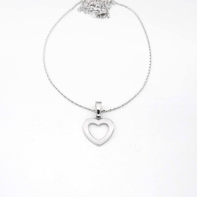 pendentif coeur sans pierres or blanc avec chaine