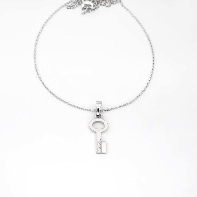 obesek ključ ključek s tremi diamanti zlato verižica belo zlato