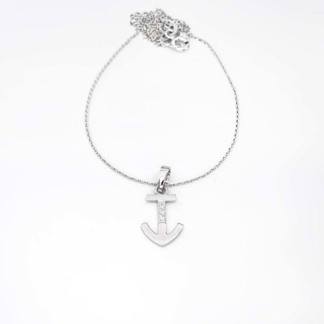 pendentif ancre en or avec trois diamants or blanc