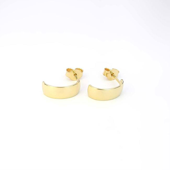hoops earrings yellow gold wide minimal