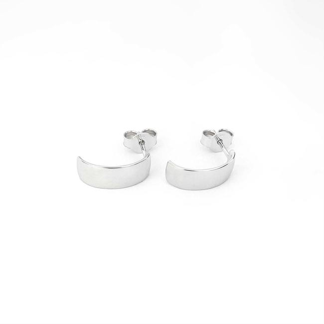 hoops earrings white gold wide and minimal