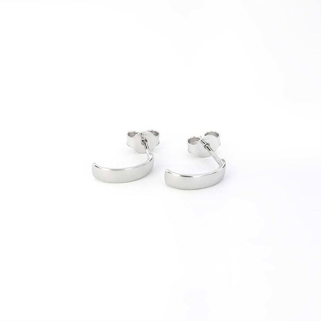 minimal hoops earrings white gold thin