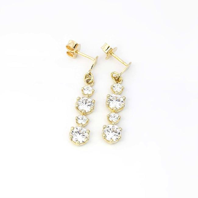 bigger hanging earring white gold cubic zirconia