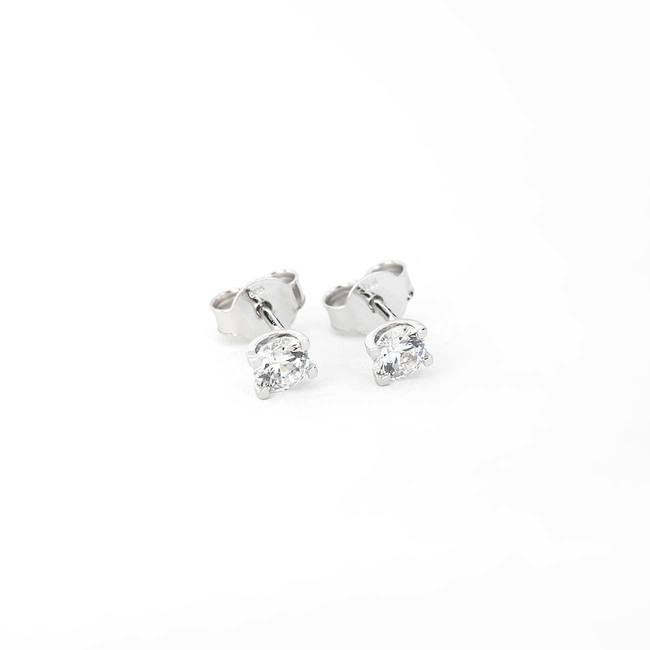 stud earrings white cubic zirconia U shape gold minimal
