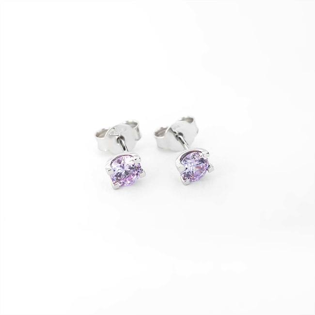 stud earrings U shape lavender color cubic zirconia white gold