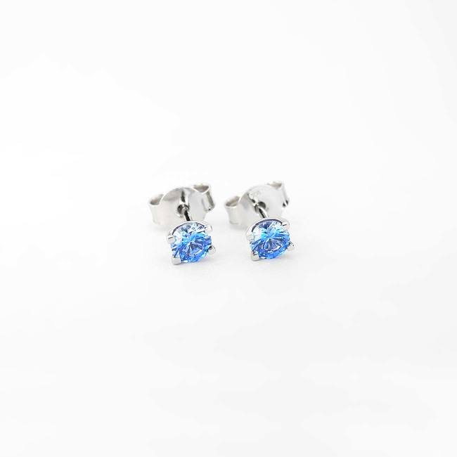 stud earrings blue cubic zirconia U shape white gold
