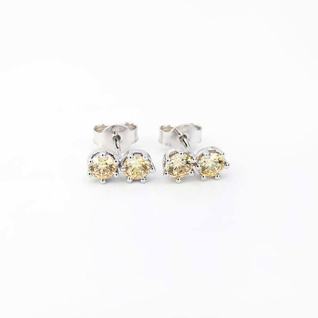 orecchini a bottone doppia pietra color champagne cubic zirconia oro bianco