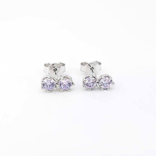 örhängen dubbel sten lavendel färg cubic zirconia vitguld