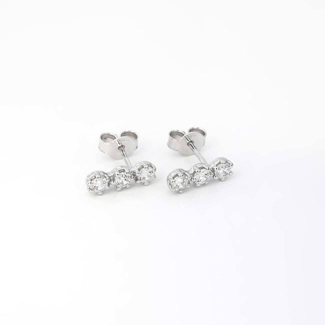 tre orecchini a bottone in pietra oro bianco zirconi topazio peridoto