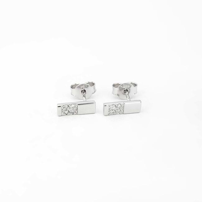 Minimal white gold studs with four small diamonds