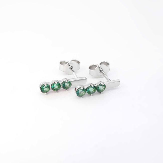 Stickstickor med tre stenar grönt topas vitguld