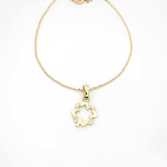 obesek podkvica s stirimi diamanti rumeno zlato verižica