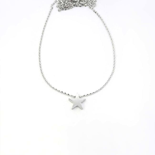 minimal star pendant with necklace white gold
