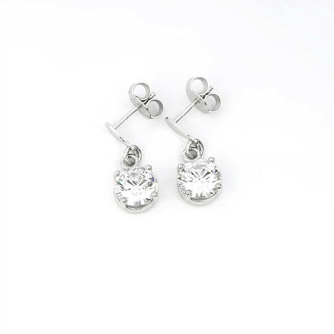 modern white gold oval earrings with round stone