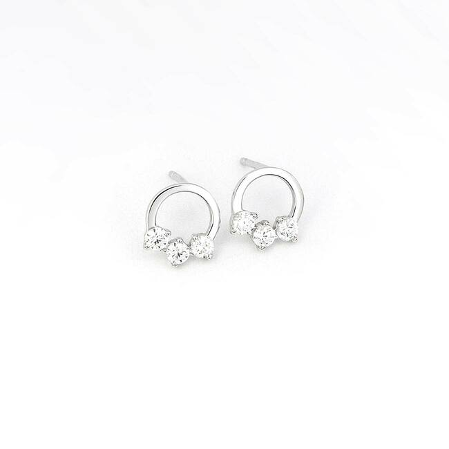 modern circle shaped stud earrings white gold semiprecious stones