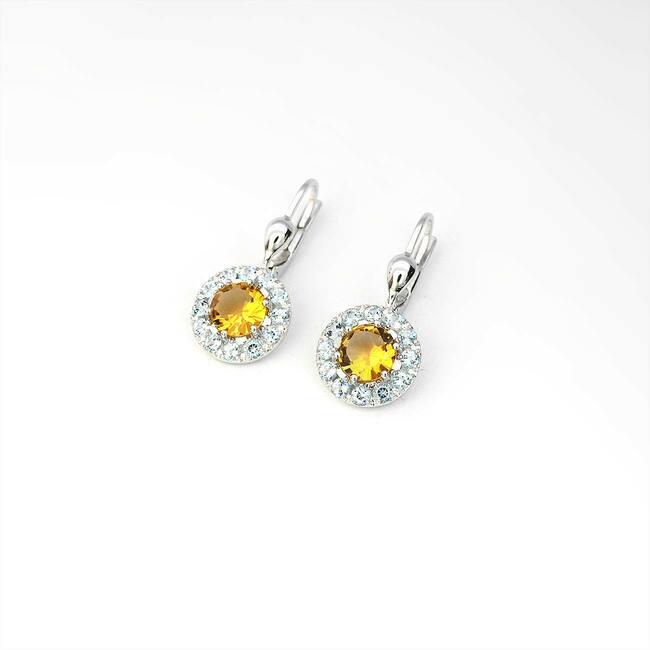 orecchini citrino giallo topazio azzurro oro bianco
