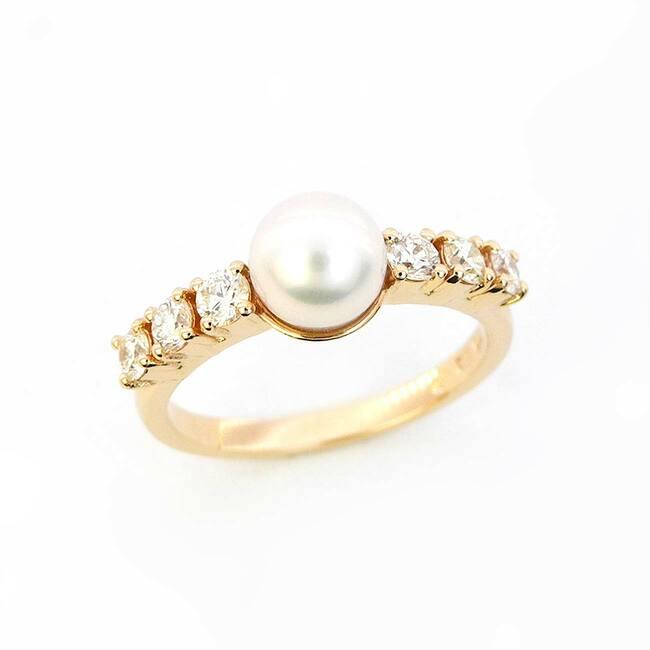 bogat prstan roza zlato perla biser diamanti