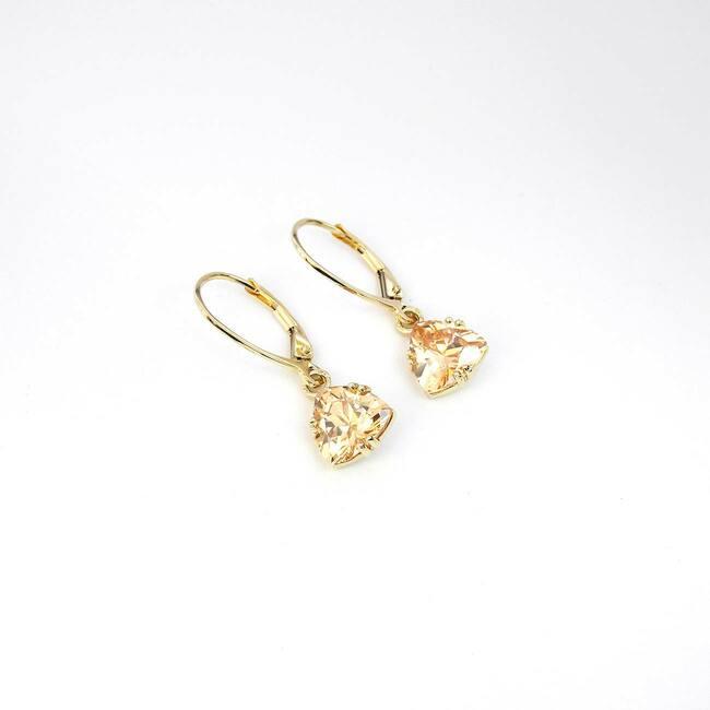 orecchini in oro giallo trilioni di zirconi pietra champagne