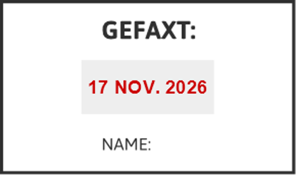 Bild von Datumstempel GEFAXT NAME