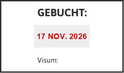 Bild von Datumstempel GEBUCHT
