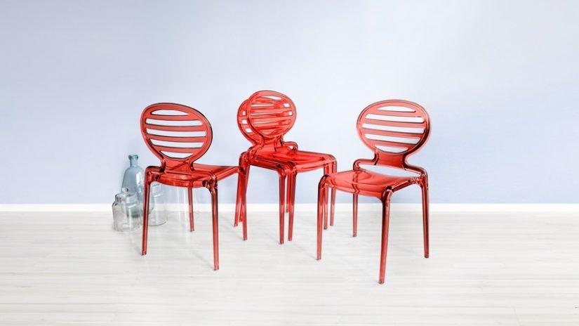 Rote design Stapelstühle
