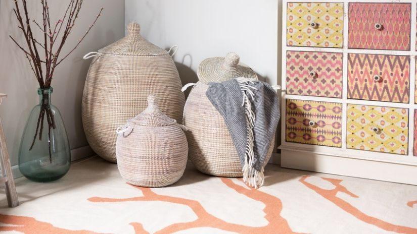 Wäschesammler aus Rattan