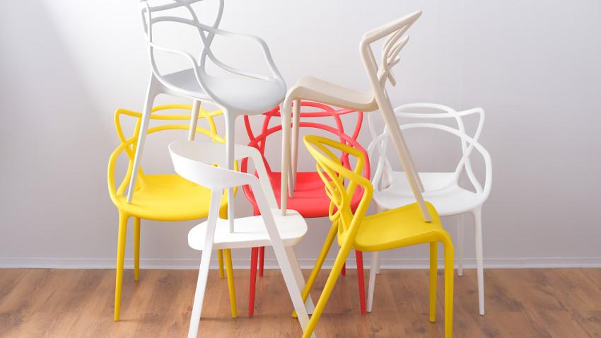 Design Stühle in Rot Weiß Gelb