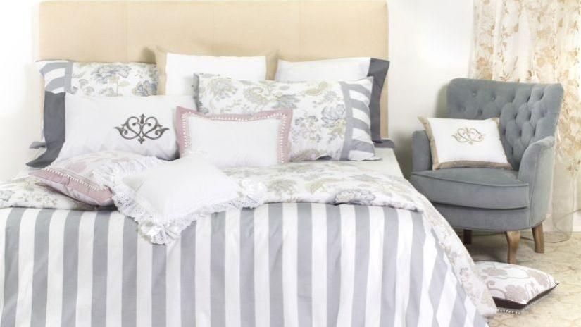 Bettwäsche grau und weiß gestreift