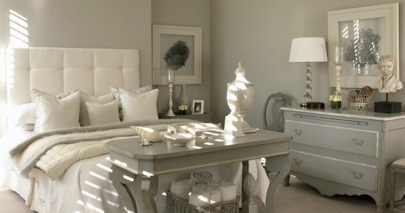 Wandgestaltung Im Schlafzimmer Mit Trendy Grau Als Wandfarbe