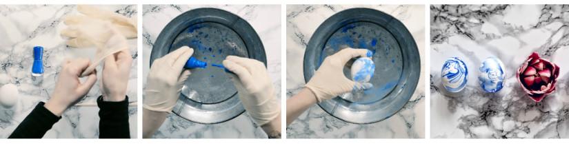 Osterdeko selber machen mit Marmor-Eier