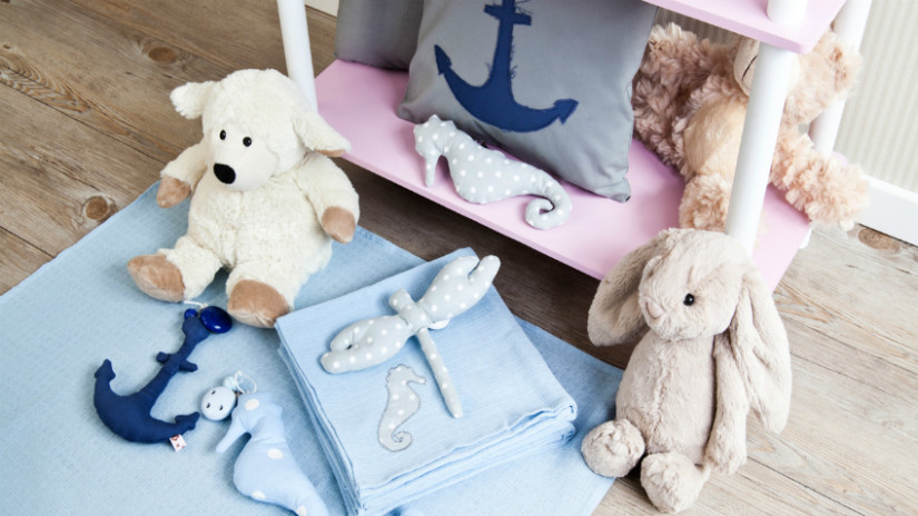 Kinderzimmer Wandgestaltung blaue Deko