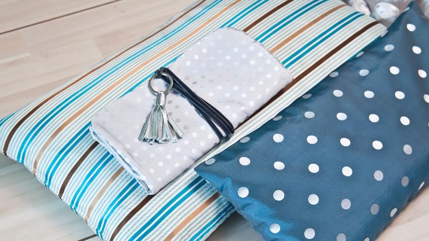 Kissen blau mit Muster